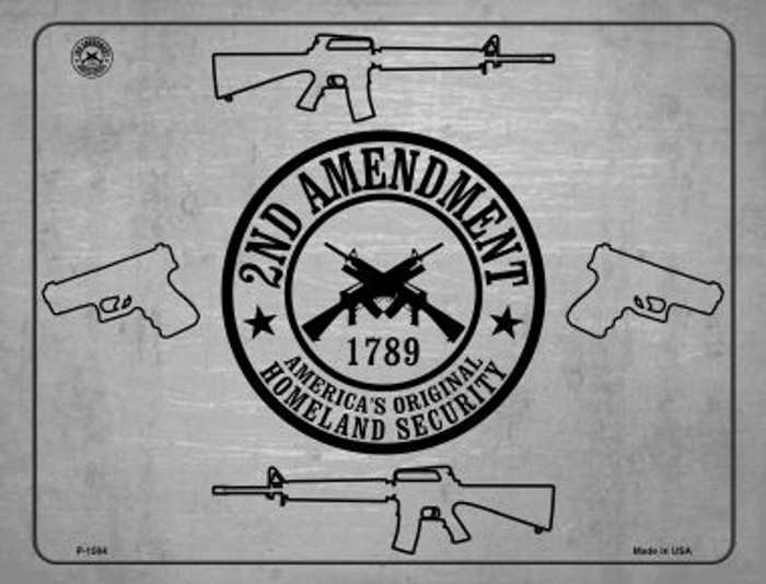 2nd Amendment Shield With Guns Metal Novelty Parking Sign P-1504