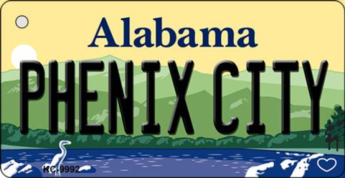 Phenix City Alabama Background Metal Novelty Key Chain