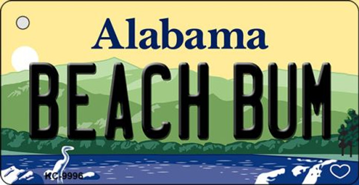 Beach Bum Alabama Background Key Chain Metal Novelty