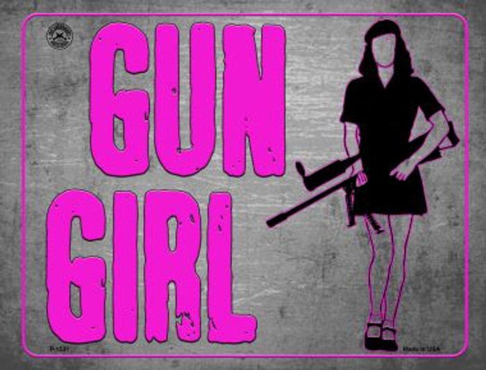 Gun Girl Metal Novelty Parking Sign