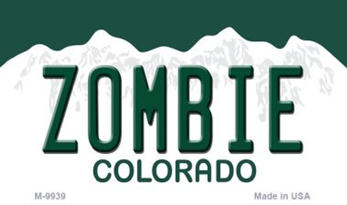 Zombie Colorado State Background Metal Novelty Magnet