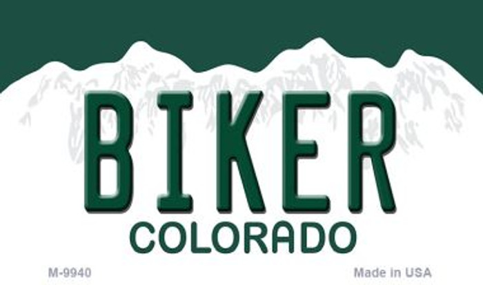Biker Colorado State Background Metal Novelty Magnet