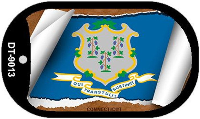"""Connecticut State Flag Scroll Dog Tag Kit 2"""" Metal Novelty"""