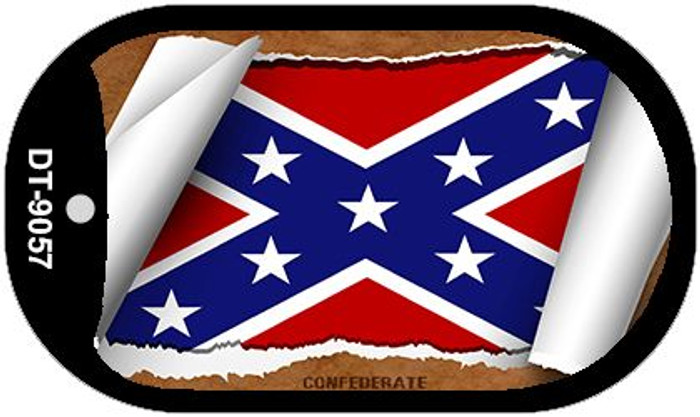 "Confederate State Flag Scroll Dog Tag Kit 2"" Metal Novelty"