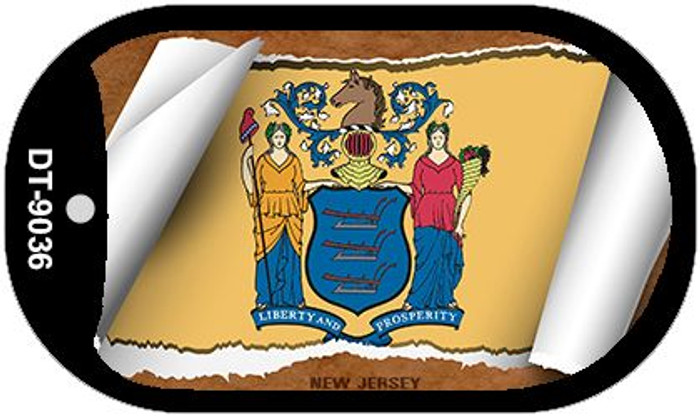 """New Jersey State Flag Scroll Dog Tag Kit 2"""" Metal Novelty"""