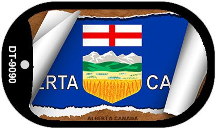 "Alberta Canada Country Flag Scroll Dog Tag Kit 2"" Metal Novelty"