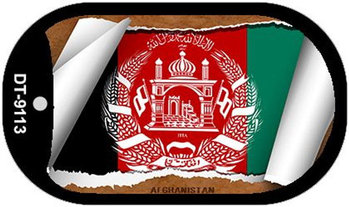 """Afghanistan Country Flag Scroll Dog Tag Kit 2"""" Metal Novelty"""