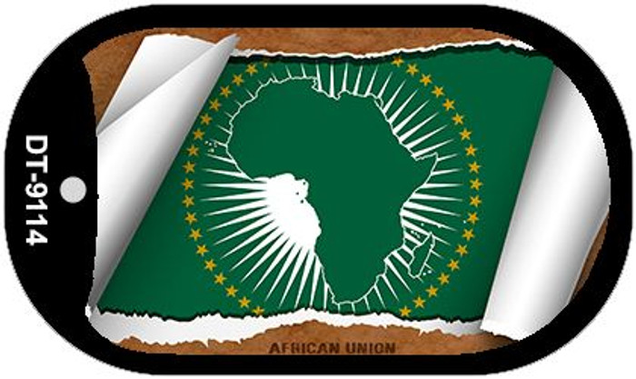 """Africa Union Country Flag Scroll Dog Tag Kit 2"""" Metal Novelty"""