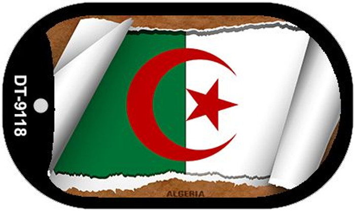 "Algeria Country Flag Scroll Dog Tag Kit 2"" Metal Novelty"
