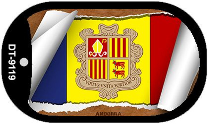 "Andorra Country Flag Scroll Dog Tag Kit 2"" Metal Novelty"