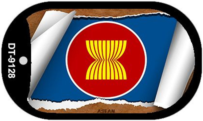 "Asean Country Flag Scroll Dog Tag Kit 2"" Metal Novelty"