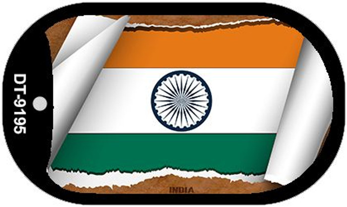 """India Country Flag Scroll Dog Tag Kit 2"""" Metal Novelty"""