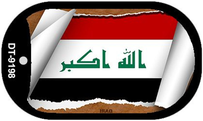 """Iraq Country Flag Scroll Dog Tag Kit 2"""" Metal Novelty"""