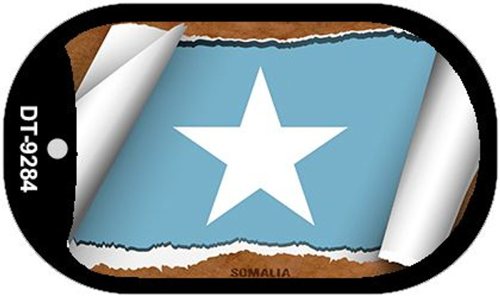 "Somalia Country Flag Scroll Dog Tag Kit 2"" Metal Novelty"