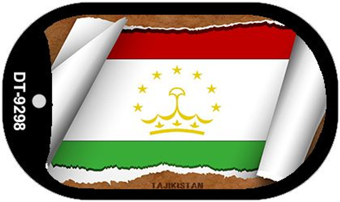 "Tajikistan Country Flag Scroll Dog Tag Kit 2"" Metal Novelty"