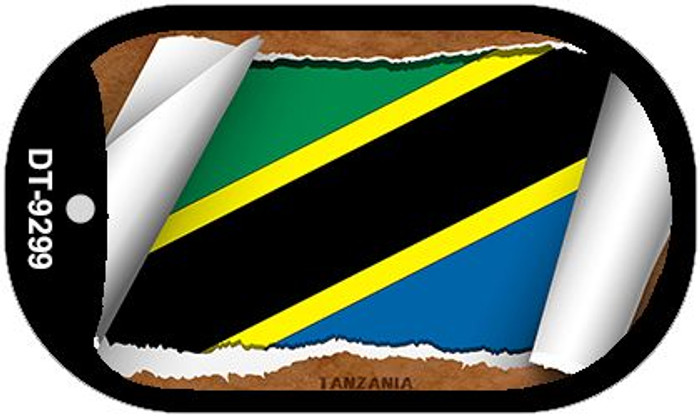 "Tanzania Country Flag Scroll Dog Tag Kit 2"" Metal Novelty"