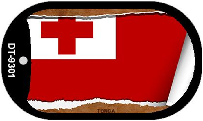 "Tonga Country Flag Scroll Dog Tag Kit 2"" Metal Novelty"
