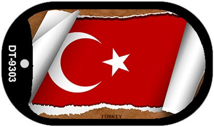 "Turkey Country Flag Scroll Dog Tag Kit 2"" Metal Novelty"