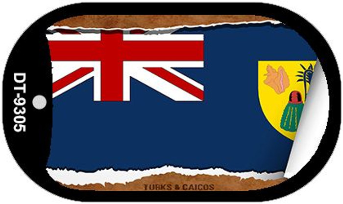 "Turks & Caicos Country Flag Scroll Dog Tag Kit 2"" Metal Novelty"