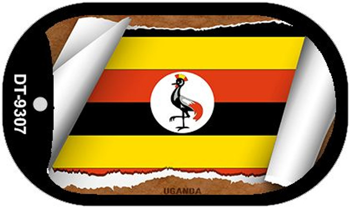 "Uganda Country Flag Scroll Dog Tag Kit 2"" Metal Novelty"