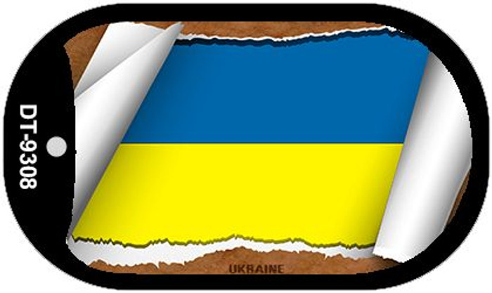 "Ukraine Country Flag Scroll Dog Tag Kit 2"" Metal Novelty"