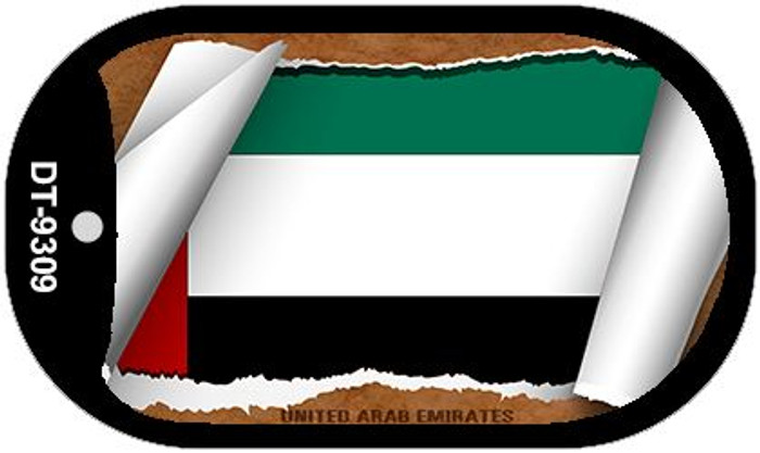 "United Arab Emirates Country Flag Scroll Dog Tag Kit 2"" Metal Novelty"