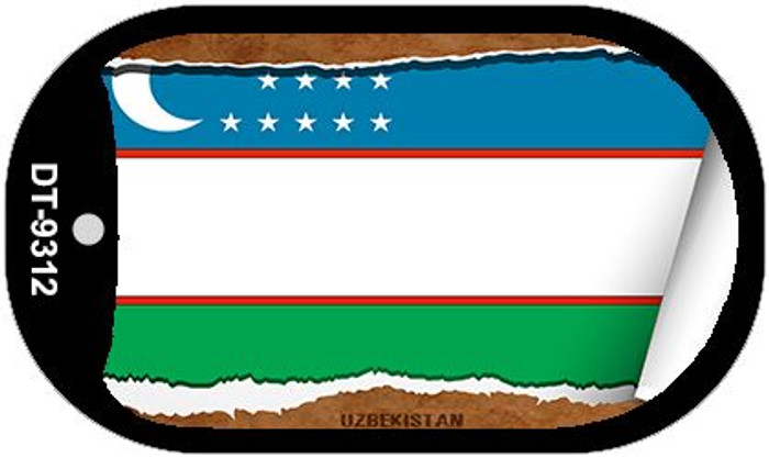 "Uzbe Kistan Country Flag Scroll Dog Tag Kit 2"" Metal Novelty"