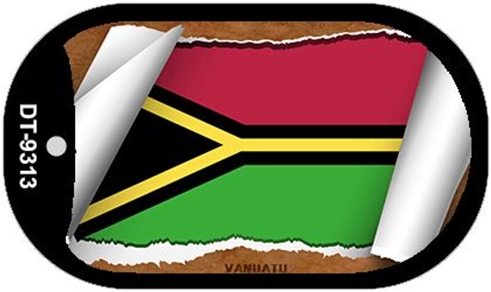 "Vanuatu Country Flag Scroll Dog Tag Kit 2"" Metal Novelty"