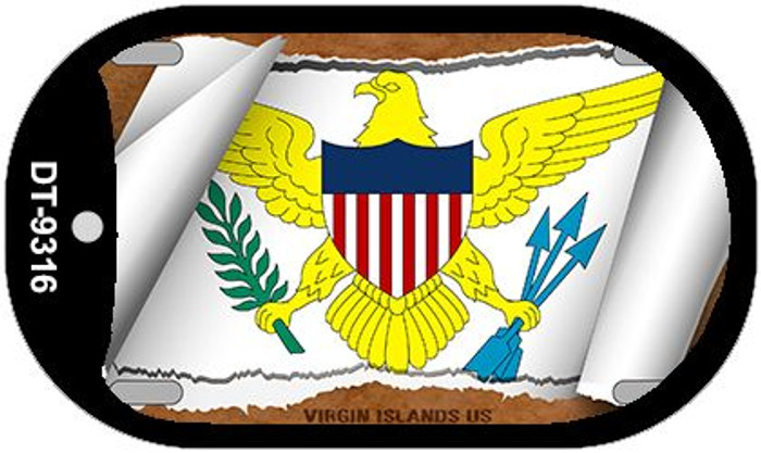 "Virgin Islands US Country Flag Scroll Dog Tag Kit 2"" Metal Novelty"