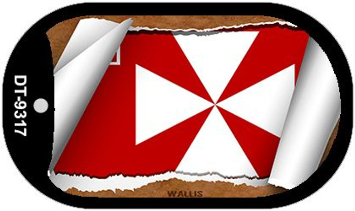 "Wallis Country Flag Scroll Dog Tag Kit 2"" Metal Novelty"