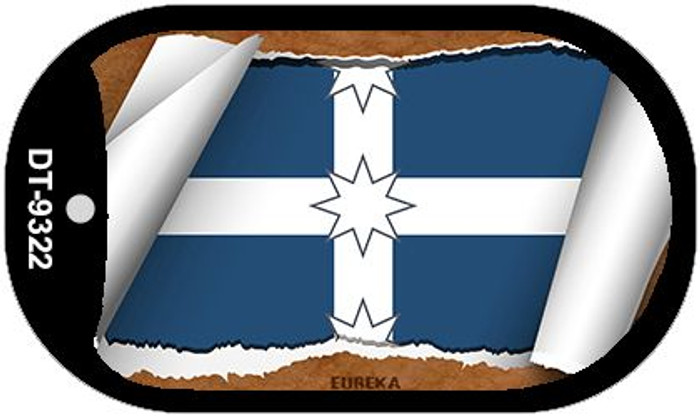 "Eureka Country Flag Scroll Dog Tag Kit 2"" Metal Novelty"