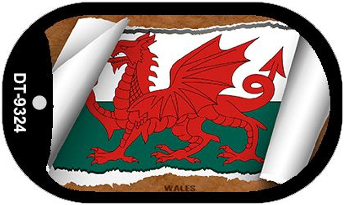 "Wales Country Flag Scroll Dog Tag Kit 2"" Metal Novelty"