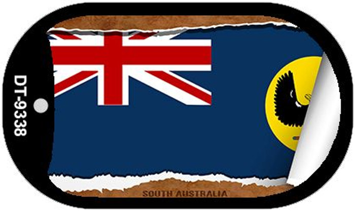"South Australia Country Flag Scroll Dog Tag Kit 2"" Metal Novelty"