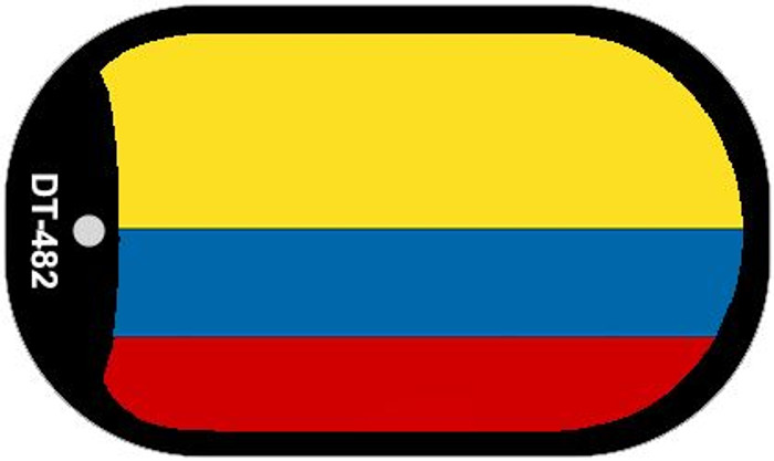 "Colombia Country Flag Scroll Dog Tag Kit 2"" Metal Novelty"