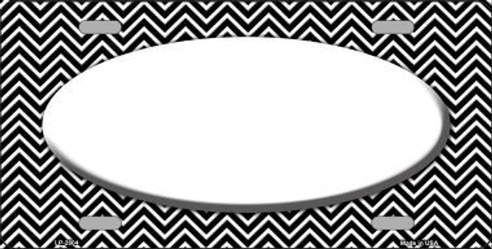 Black White Chevron With Center Oval Metal Novelty License Plate LP-2804