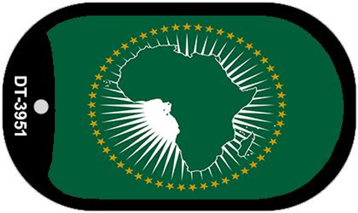 "African Union Country Flag Scroll Dog Tag Kit 2"" Metal Novelty"