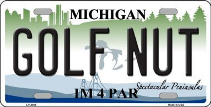 Golf Nut Michigan State Metal Novelty License Plate LP-2806