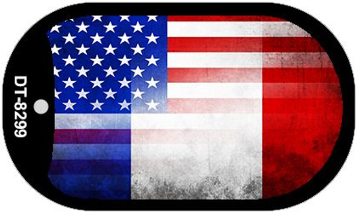 "American France Country Flag Scroll Dog Tag Kit 2"" Metal Novelty"