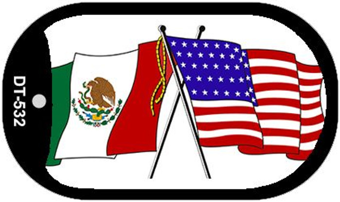 """American Mexico Country Flag Dog Tag Kit 2"""" Metal Novelty"""