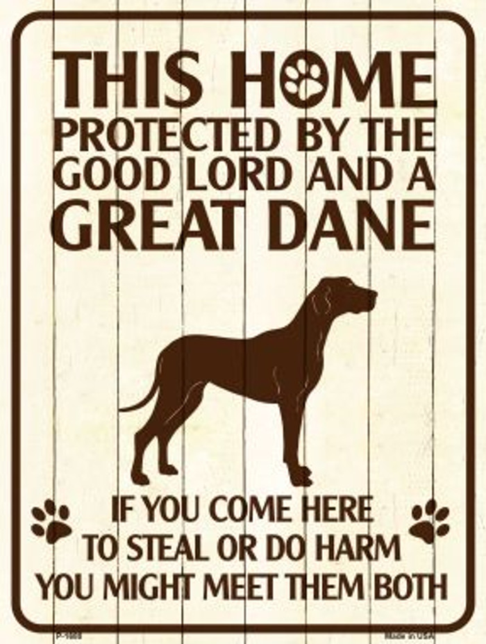 This Home Protected By A Great Dane Parking Sign Metal Novelty