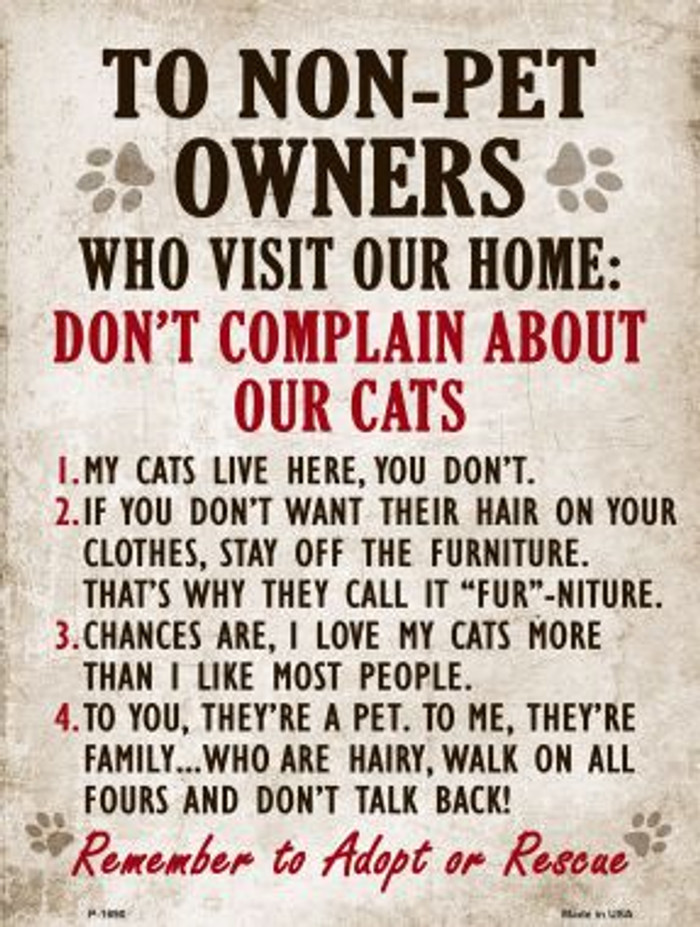 Non-Pet Owners Our Cats Parking Sign Metal Novelty