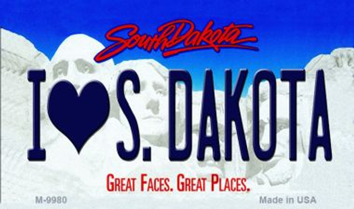I Love S. Dakota South Dakota State Background Magnet Novelty