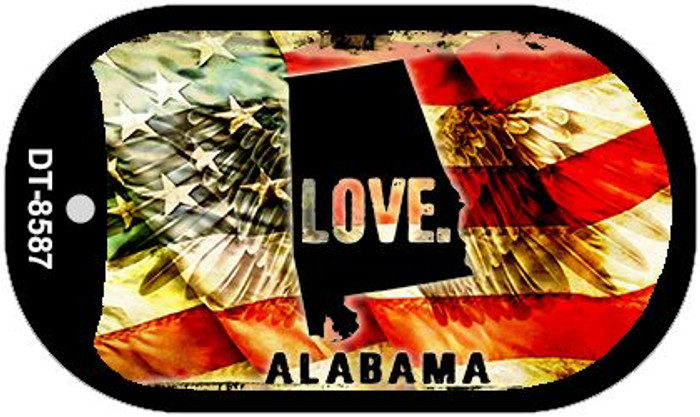 "Alabama Love Dog Tag Kit 2"" Metal Novelty"