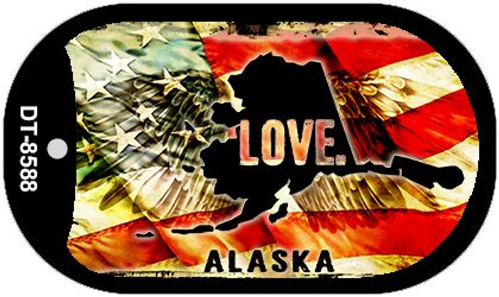 "Alaska Love Dog Tag Kit 2"" Metal Novelty"