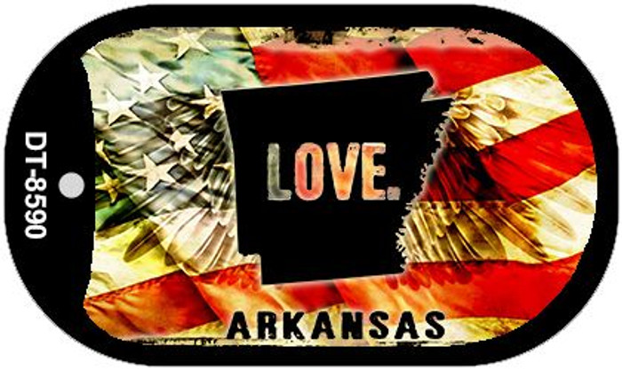 "Arkansas Love Dog Tag Kit 2"" Metal Novelty"