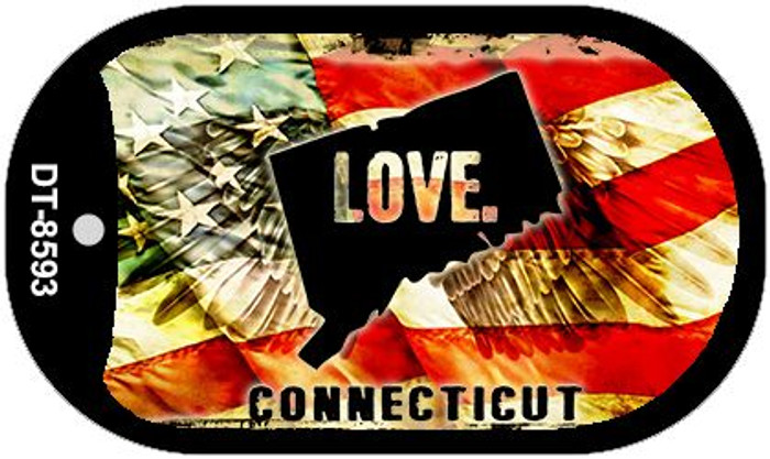 "Connecticut Love Dog Tag Kit 2"" Metal Novelty"