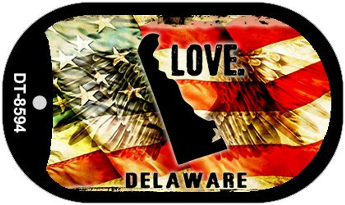 "Delaware Love Dog Tag Kit 2"" Metal Novelty"