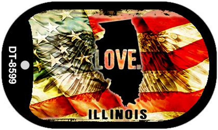 "Illinois Love Dog Tag Kit 2"" Metal Novelty"
