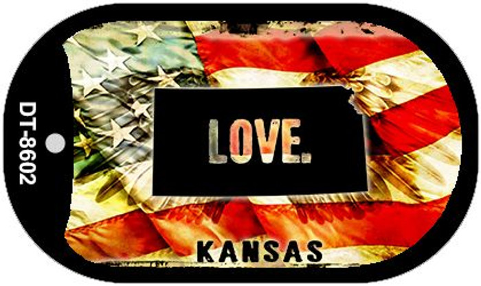 "Kansas Love Dog Tag Kit 2"" Metal Novelty"