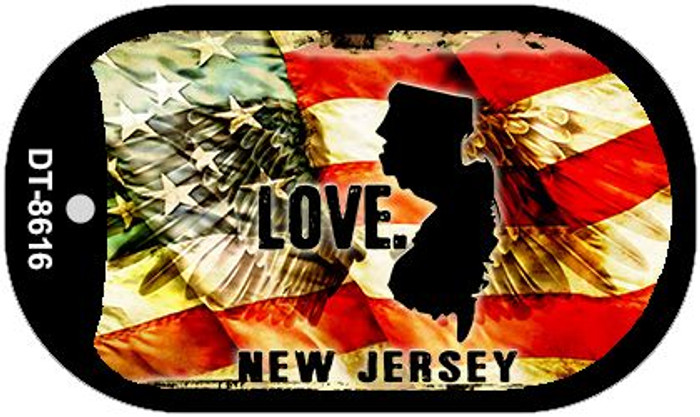 "New Jersey Love Dog Tag Kit 2"" Metal Novelty"